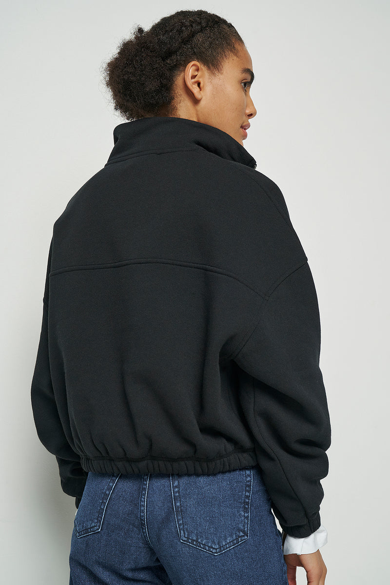 100% Recycled Elasticated Hem Half Zip Sweatshirt