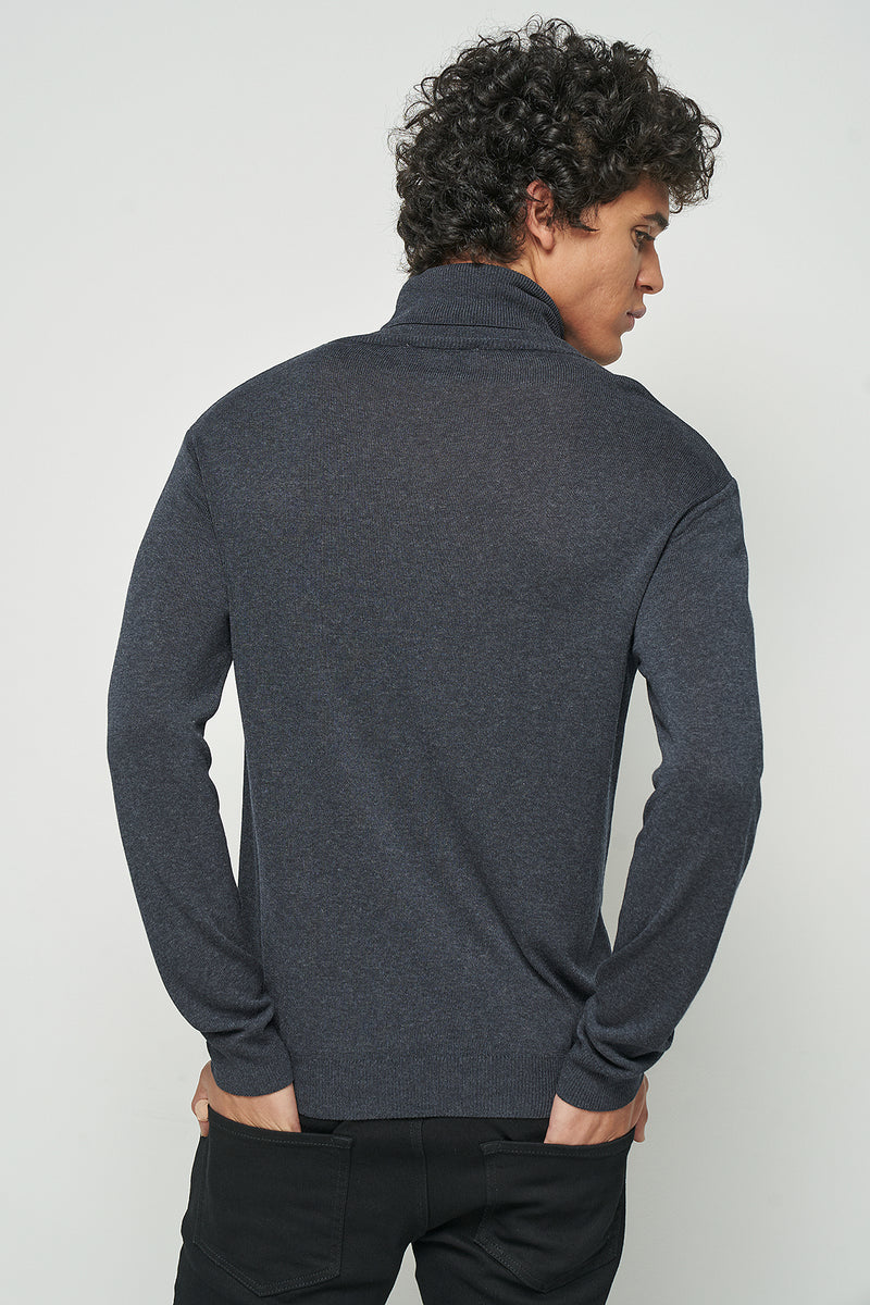 Fine-knit polo-neck jumper