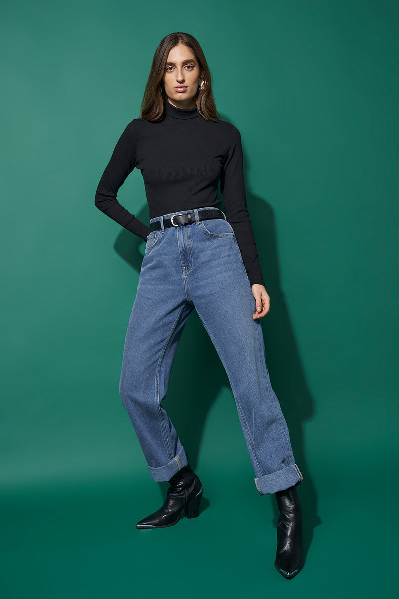 100% Recycled Fitted Ribbed Turtleneck