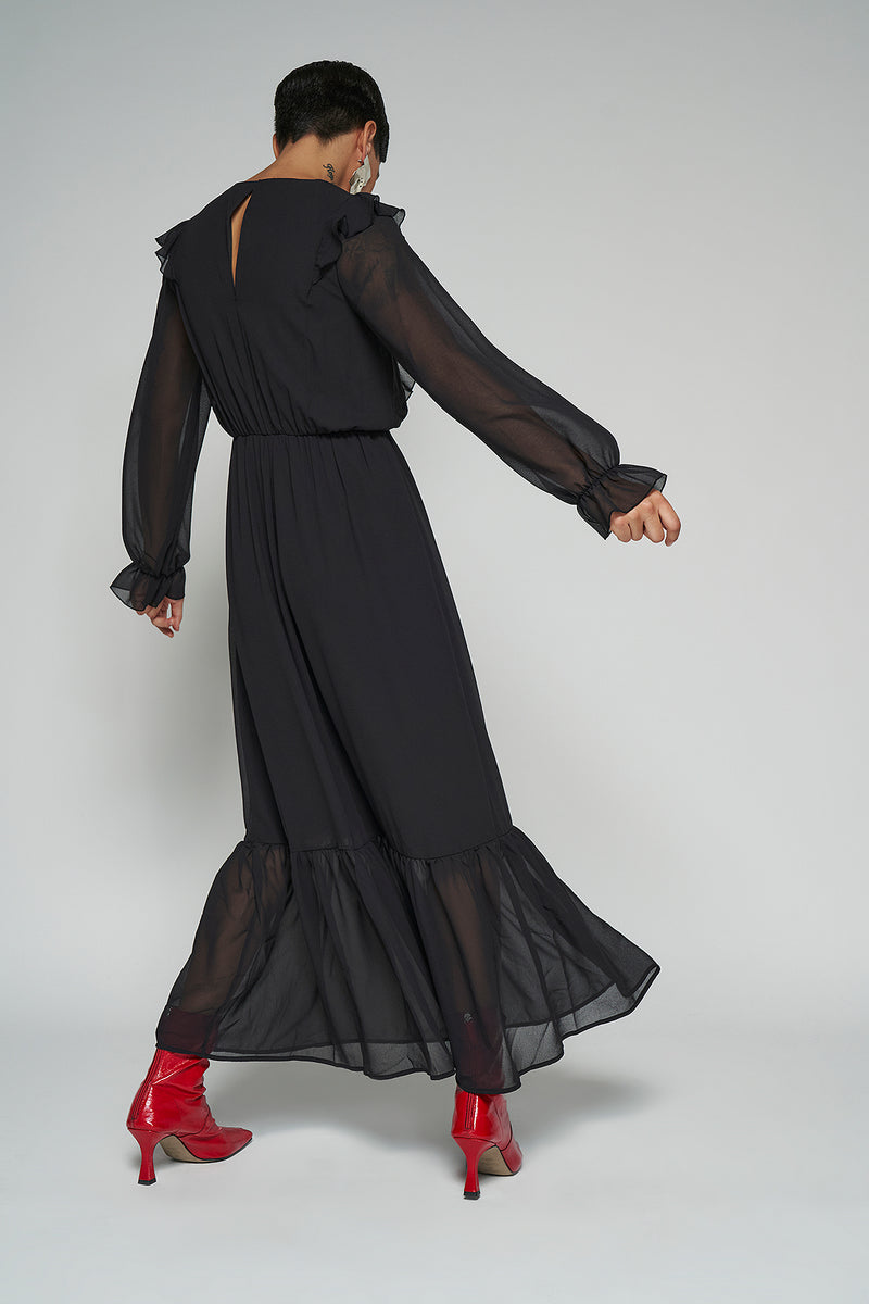 100% Recycled Frill Shoulder Maxi Dress