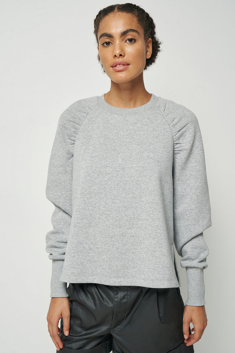 100% Recycled Gathered Sleeve Sweatshirt