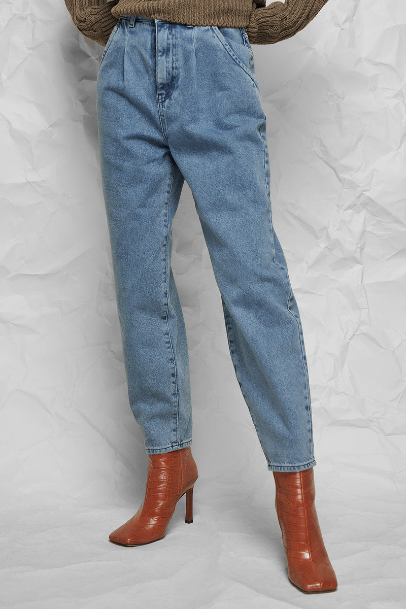 High Rise Barrel Cropped Jeans