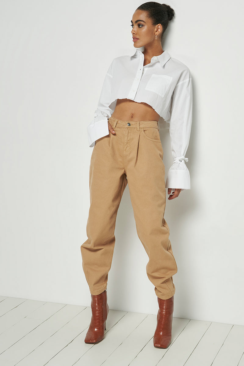 High Rise Cropped Slouchy Jeans