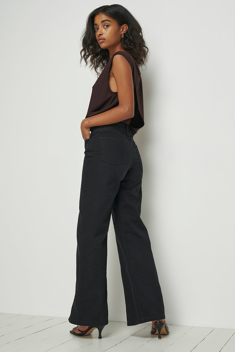 High Rise Wide Leg Split Hem Jeans