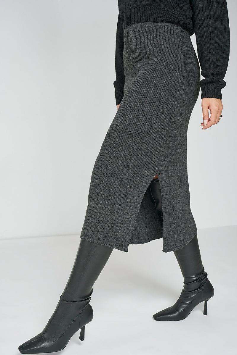 100% Recycled Knitted Midi Skirt