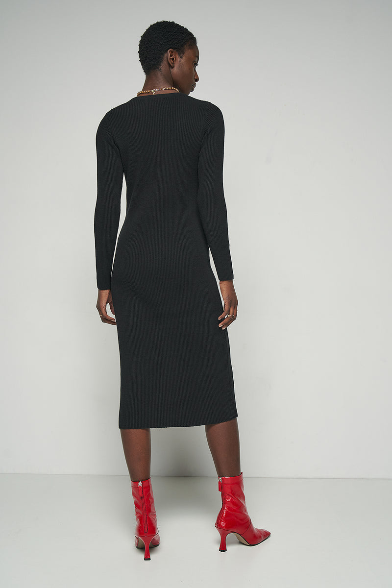 Long Sleeve Ribbed Midi Dress