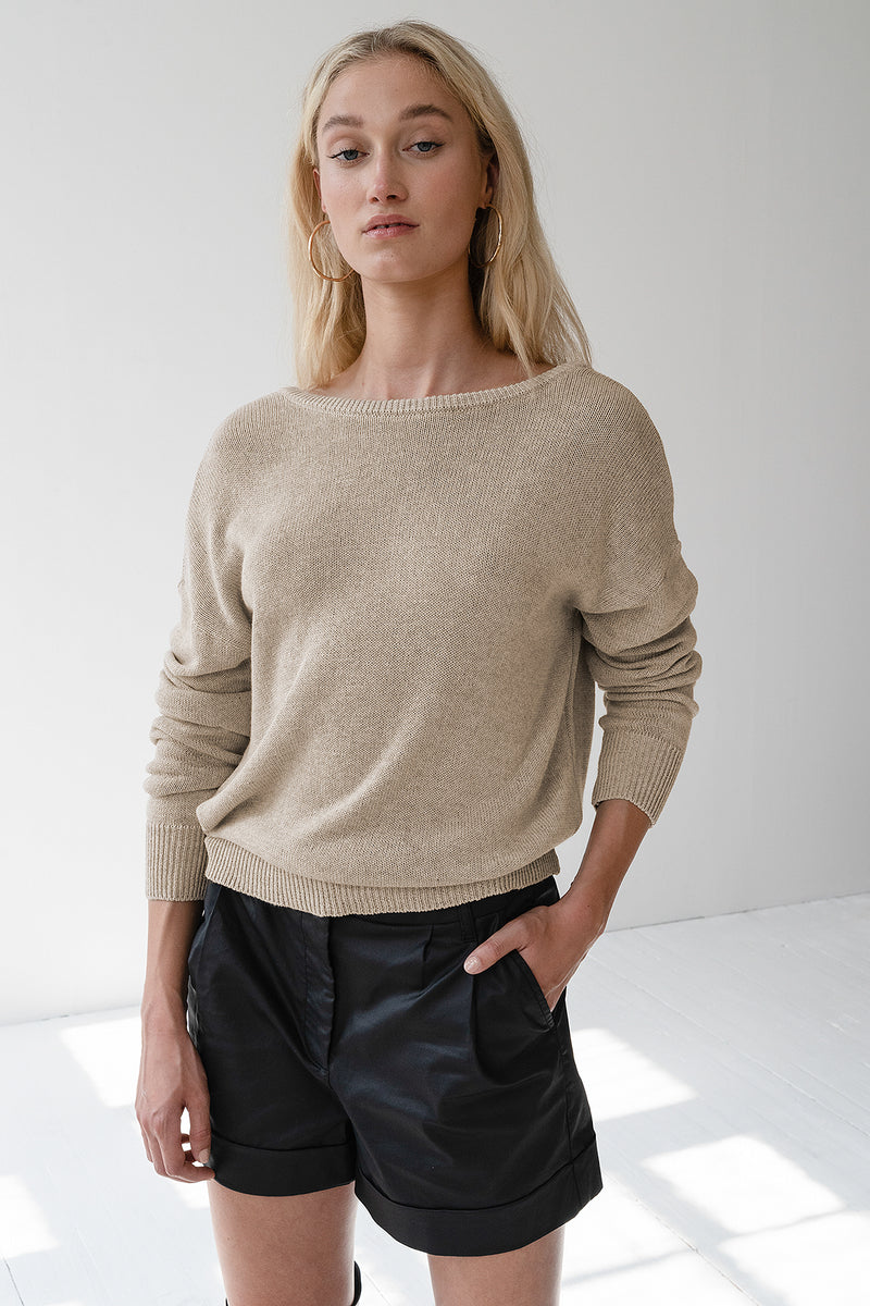Open Back Wrap Sweater