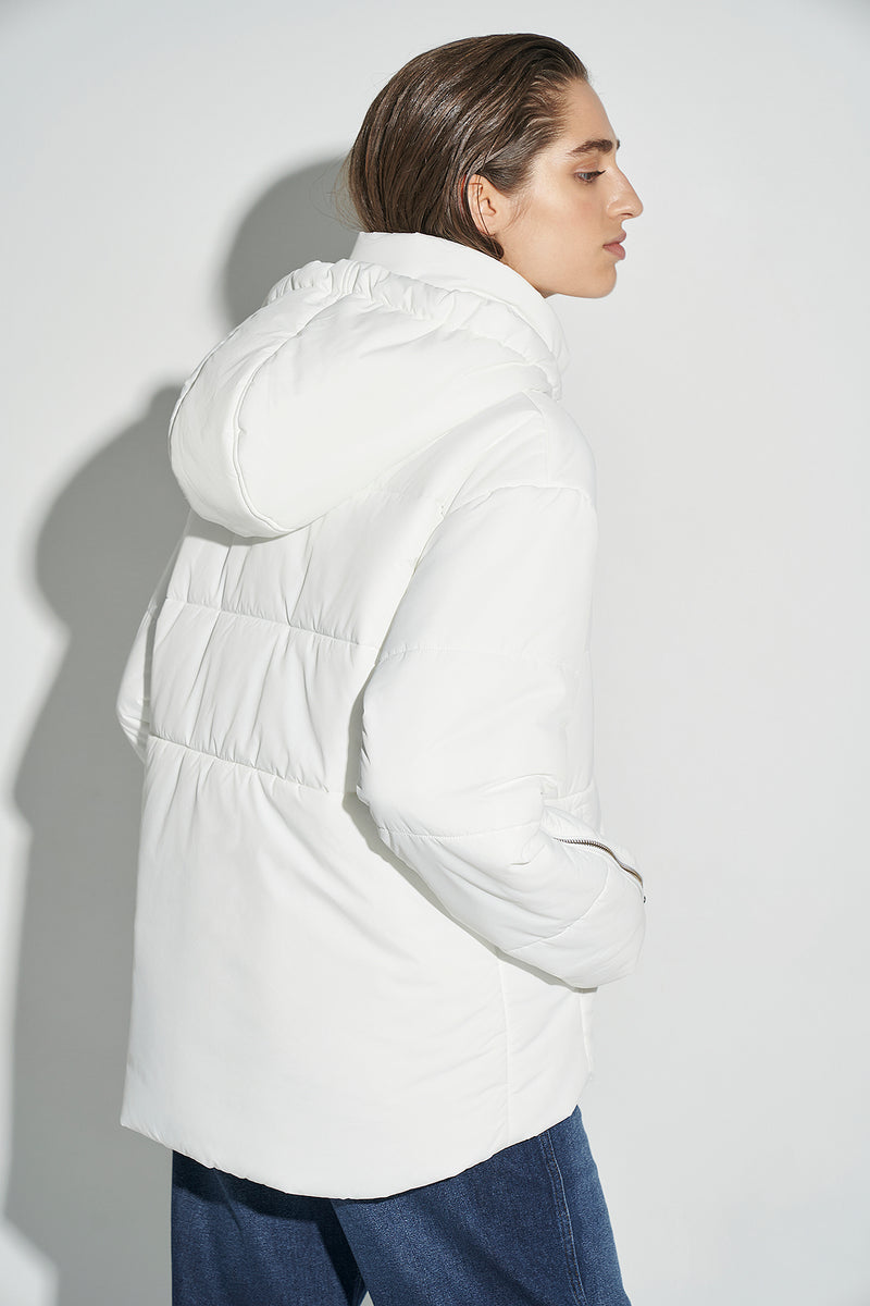 100% Recycled Oversized Hooded Puffer Jacket