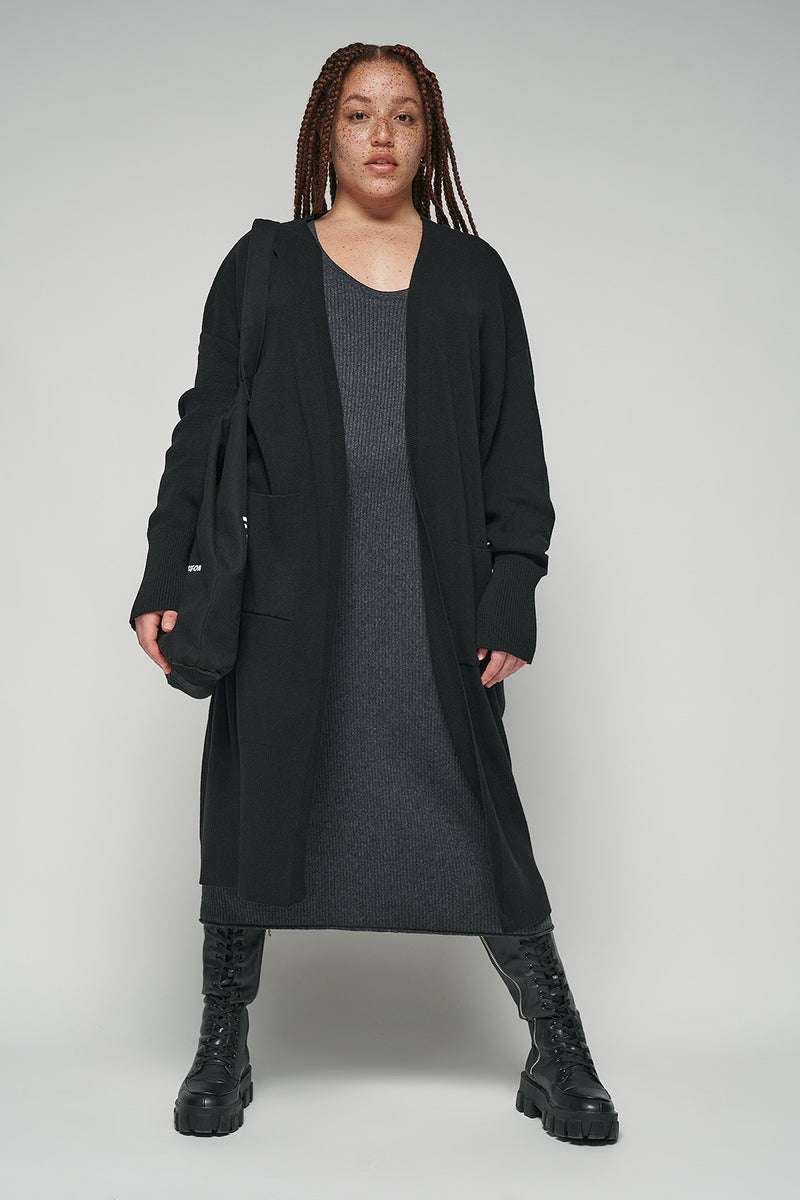 100% Recycled Open Front Patch Pocket Cardigan