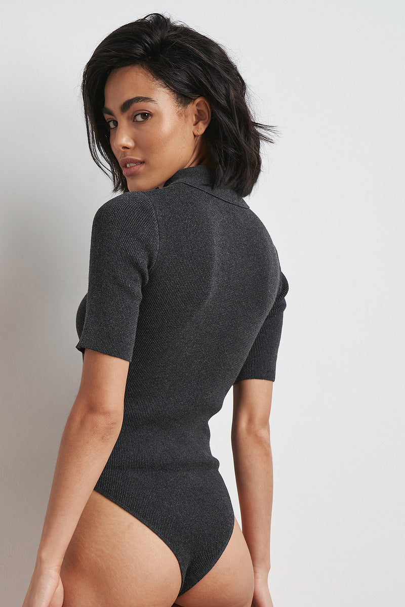 100% Recycled Polo Neck Ribbed Bodysuit