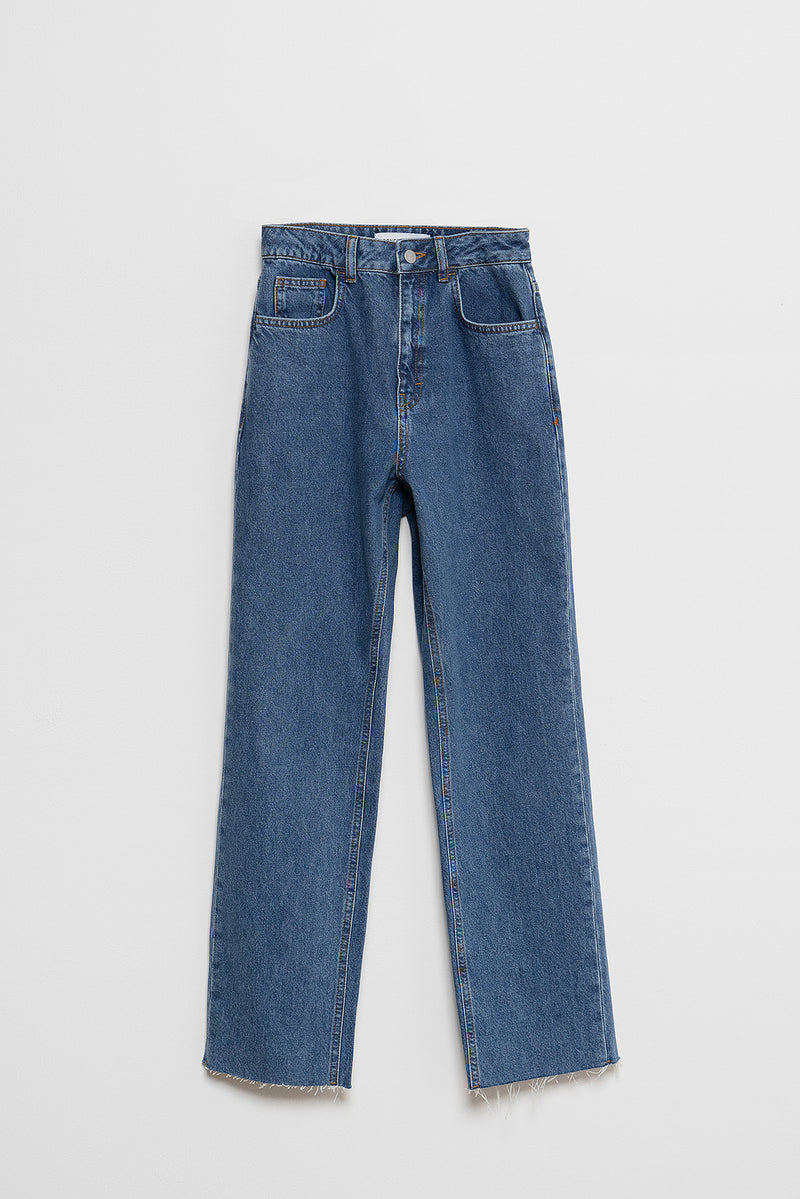100% Recycled Raw Hem High Rise Straight Leg Jeans
