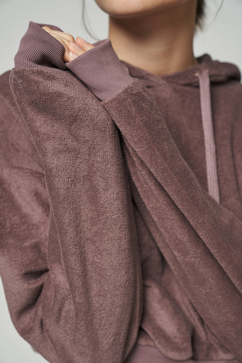 100% Organic Towelling French Terry Cropped Hoodie