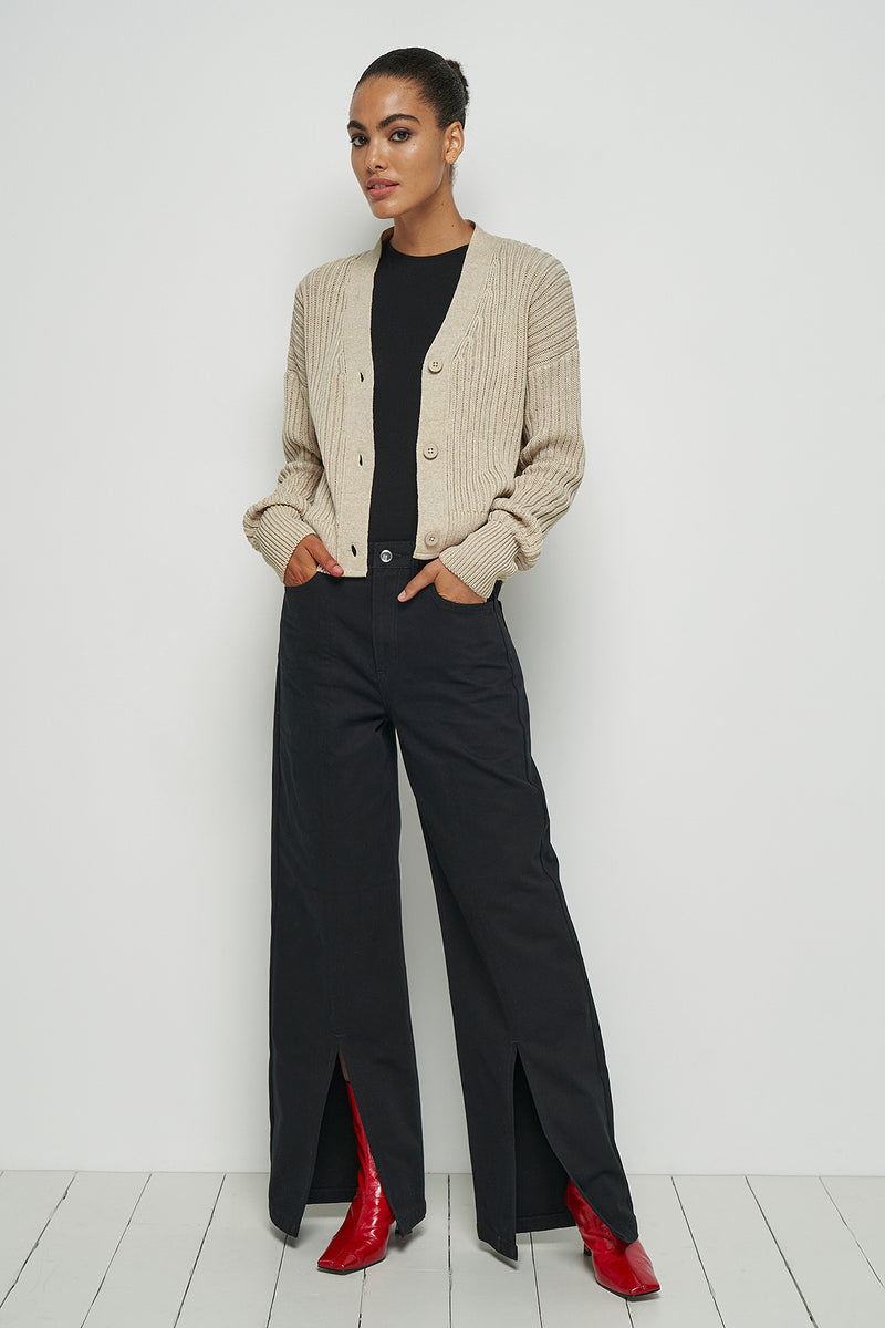 100% Recycled Ribbed Cropped Cardigan
