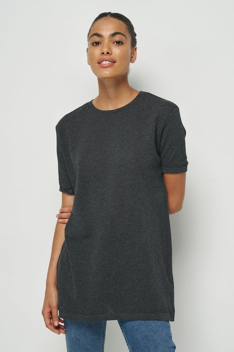 100% Recycled Roll Hem Knitted Unisex T-shirt