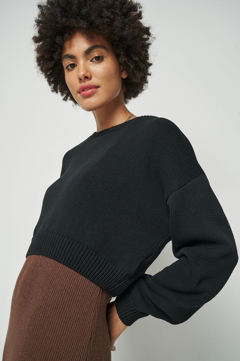 100% Upcycled Blend Round Neck Cropped Jumper