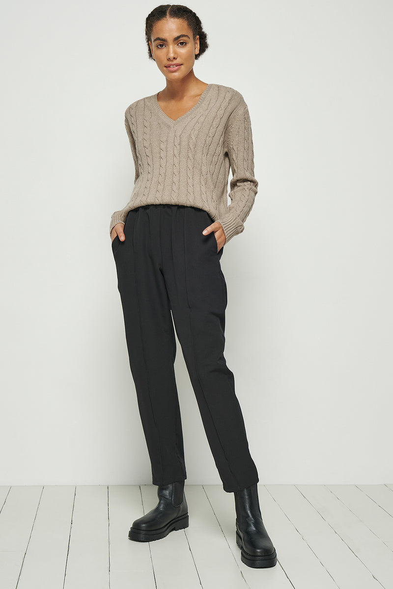 100% Recycled Seam Front Elastic Waist Pants