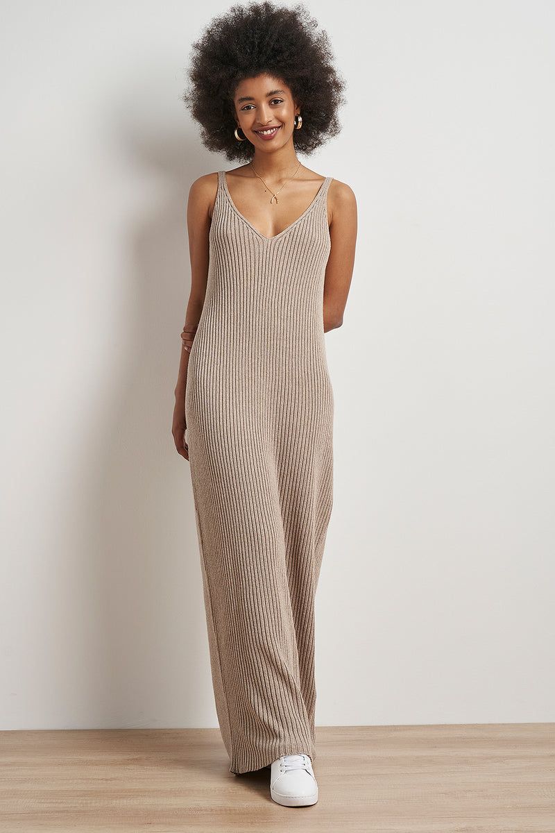 100% Recycled Seamless Knitted Slip Maxi Dress