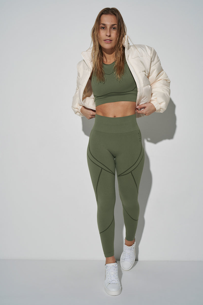 Seamless Two Tone High Waist Leggings