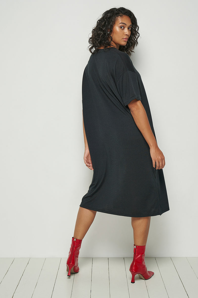 Short Sleeve Side Split Midi Dress