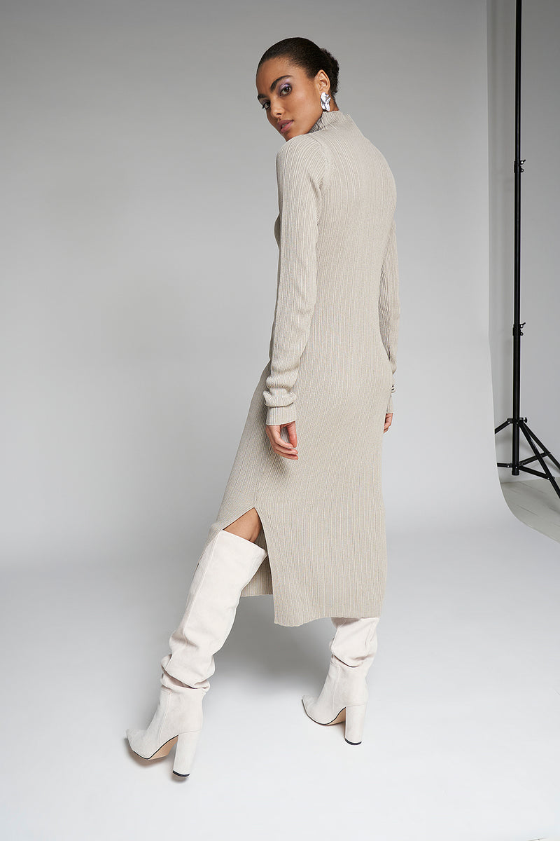 Side Split Ribbed Knitted Midi Dress