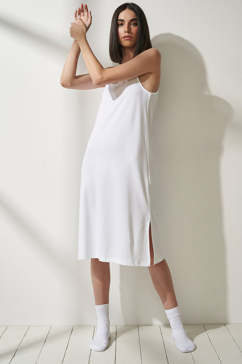 Side Slit Scoop Neck Jersey dresses