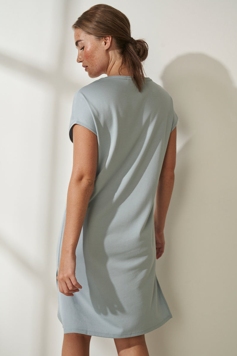 Slide Slit Soft V-Neck Jersey Dress