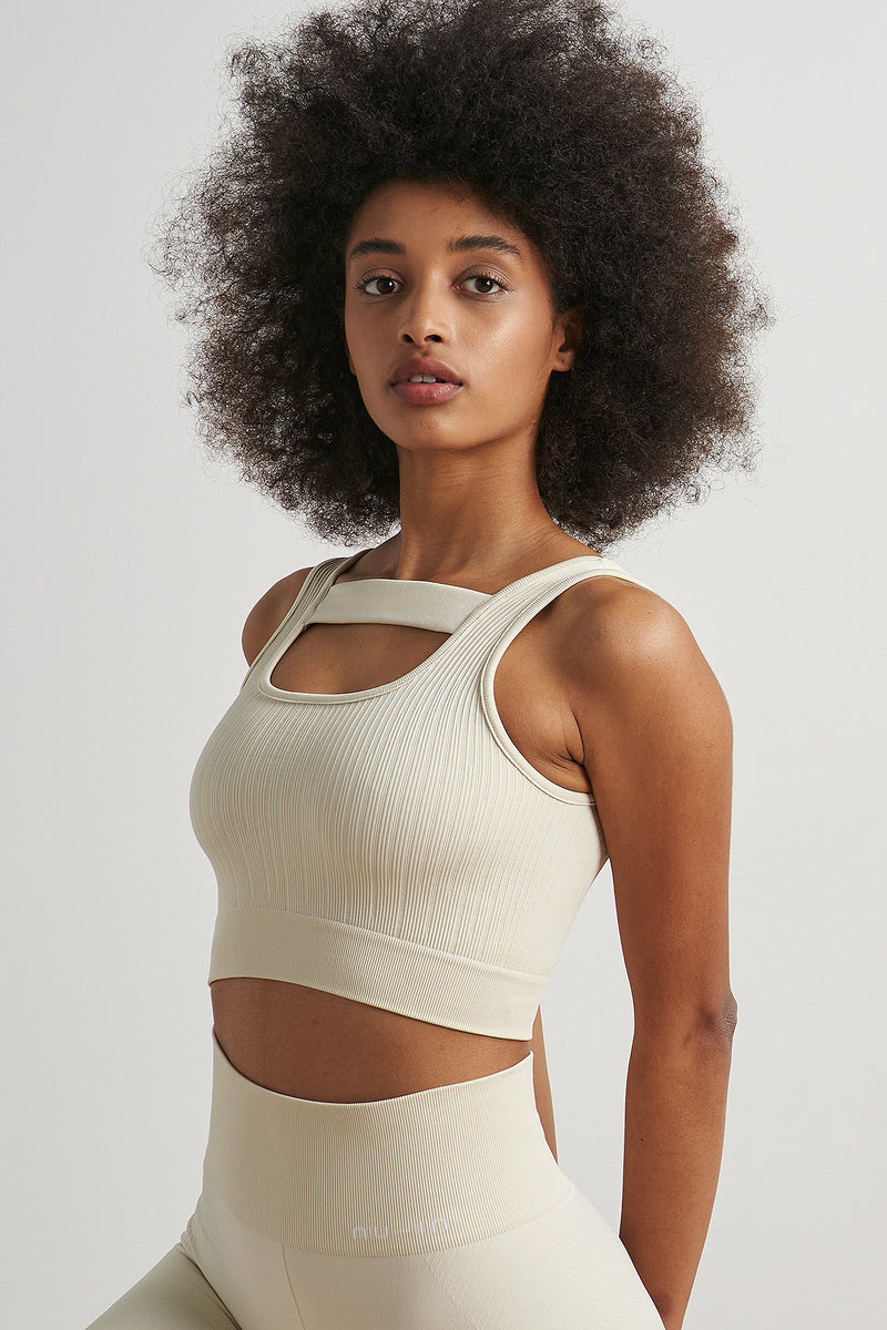 Square Neck Cut Out Sports Bra