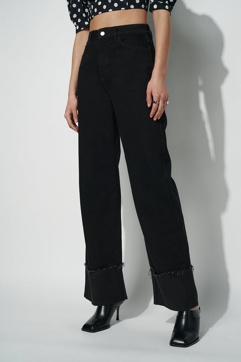 100% Recycled Turn Up High Rise Wide Leg Jeans