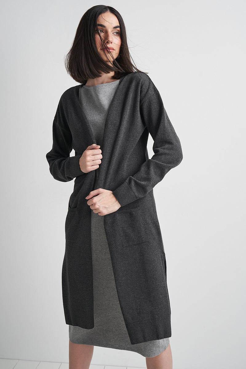 100% Recycled Uneven Hem Longline Cardigan