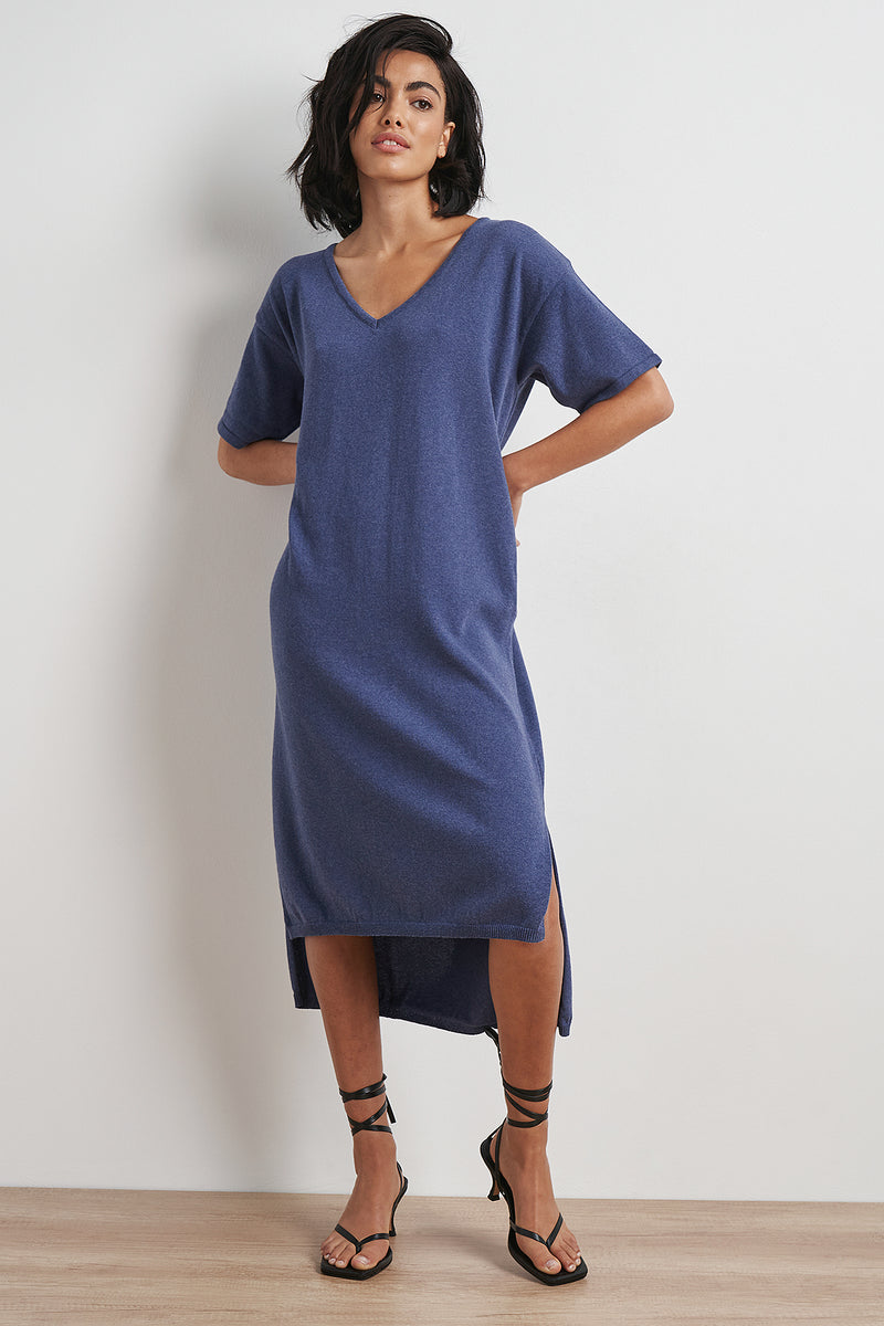 Recycled V-neck Midi Dress