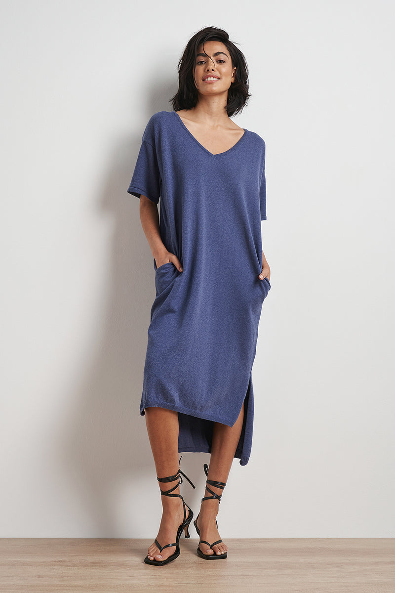 100% Recycled V-neck Midi Dress