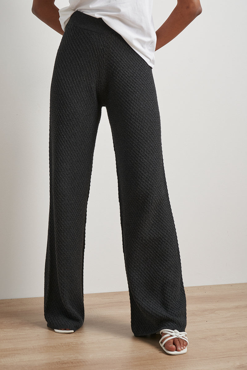 100% Recycled Wide Leg Seamless Knitted Pants