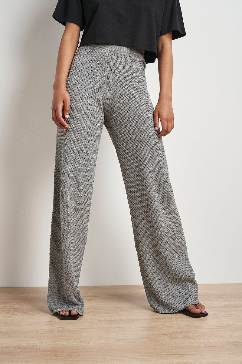 Wide Leg Seamless Knitted Trousers