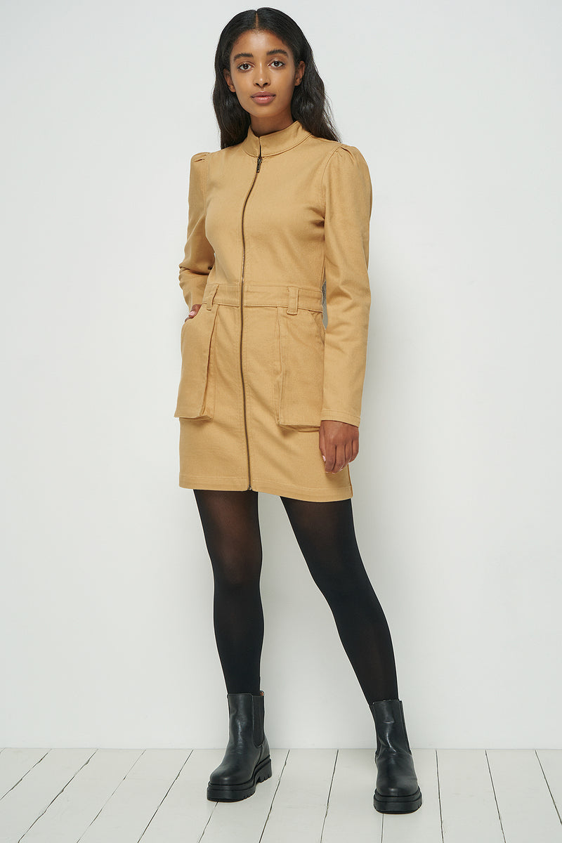Zip Up Cargo Mini Dress