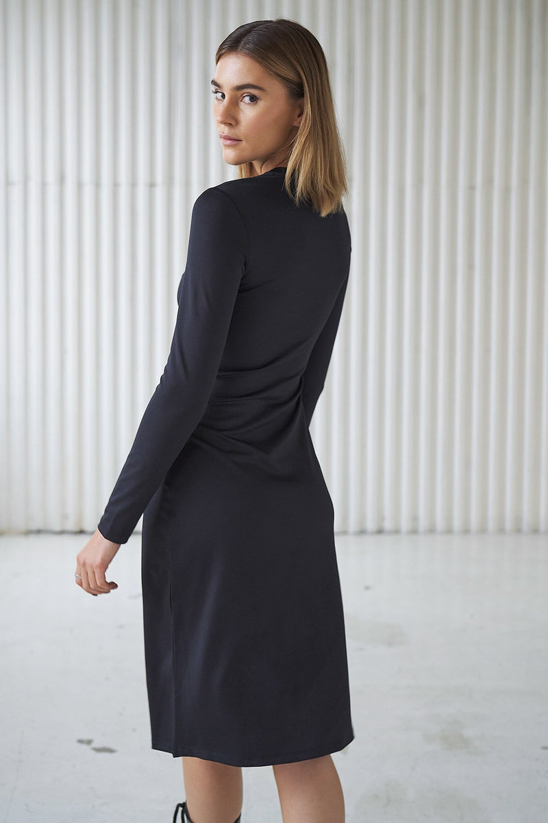 Cut Out Mock Neck Midi Dress