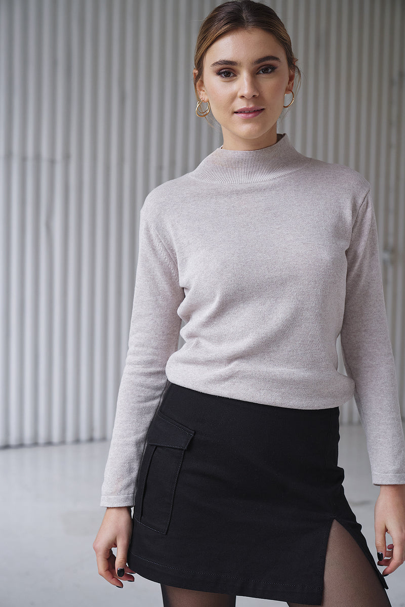 100% Upcycled Blend Fine Knit Turtleneck Long Sleeve Jumper