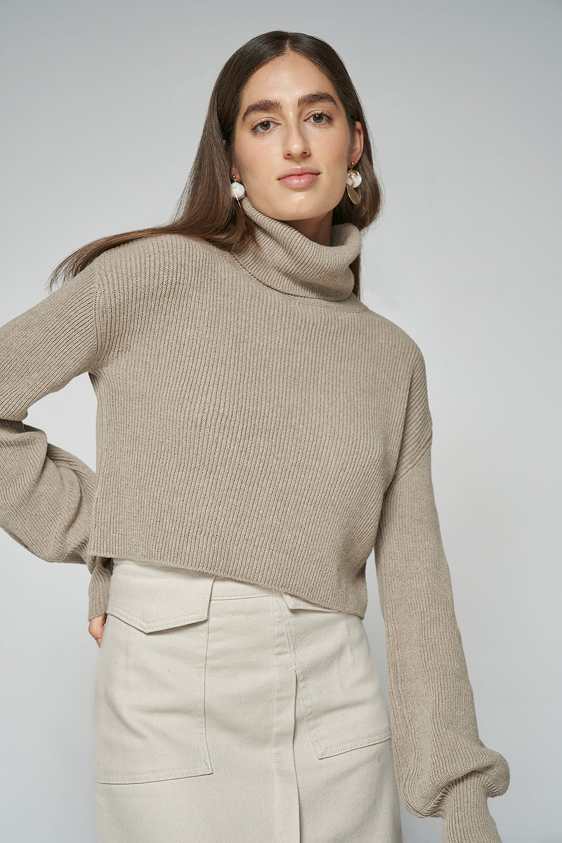 Cropped Finger Hole Sweater