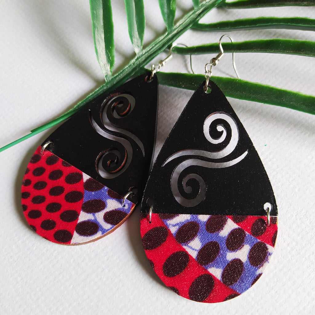 Koru/Ankara teardrop earrings