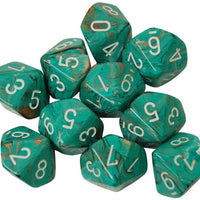 Dice Menagerie 10: Poly D10 Marble Oxi Copper/White (10)