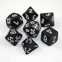 Polyhedral 7-Die Set: Opaque Black/White