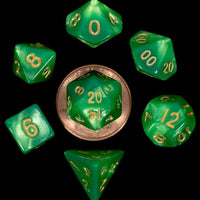Mini Polyhedral Dice Set - Green/Light Green with Gold Numbers