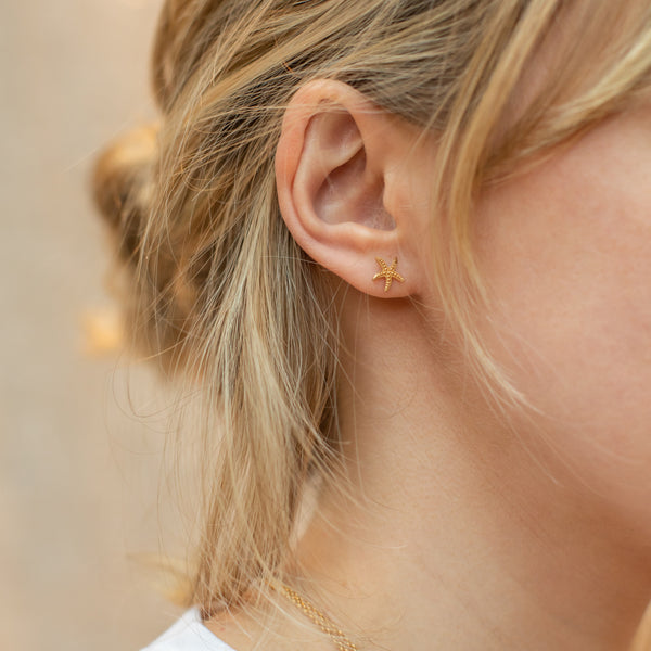 Gold Starfish Stud Earrings - Lulu B Jewellery