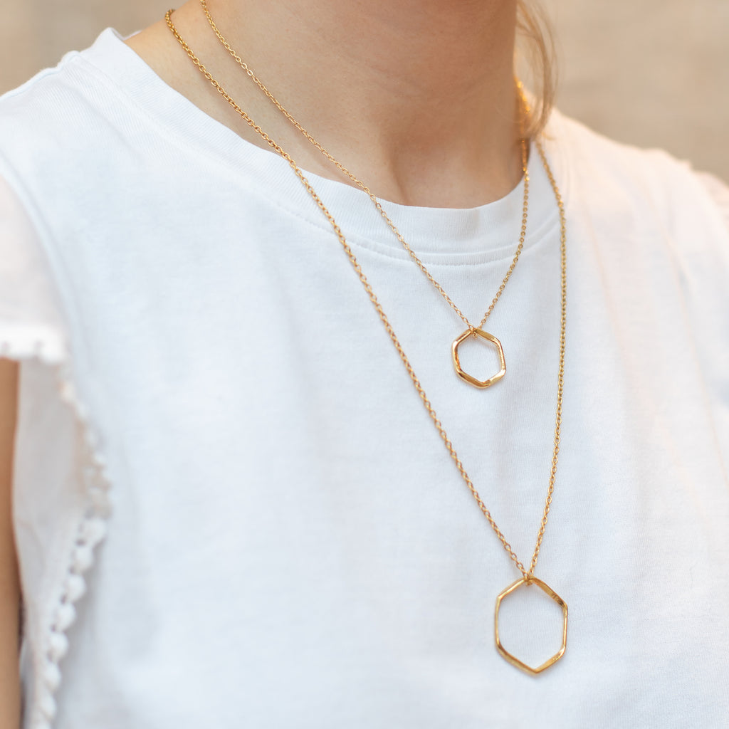 Gold Hex Necklace - Lulu B Jewellery