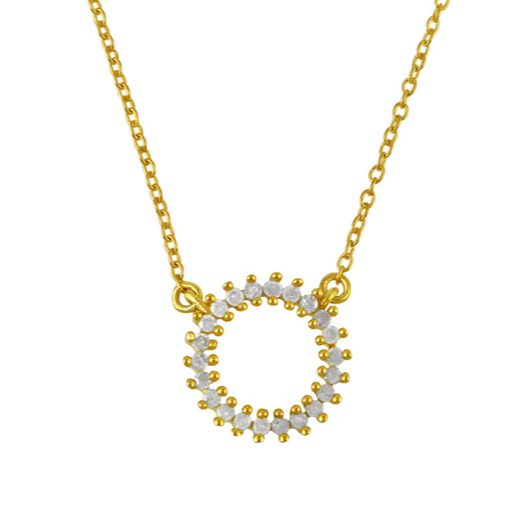 Gold DIamond Halo Necklace - Lulu B Jewellery