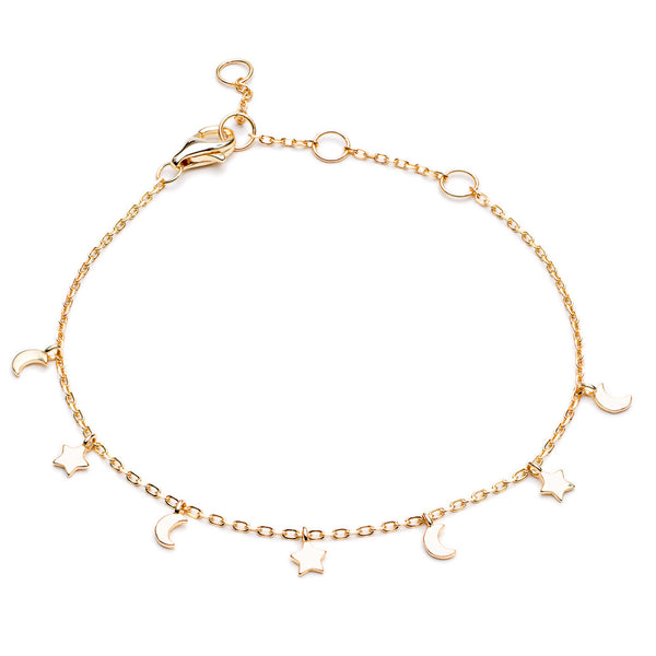 Gold Skye Bracelet with Star and Moon Hanging Charms - Lulu B Jewellery