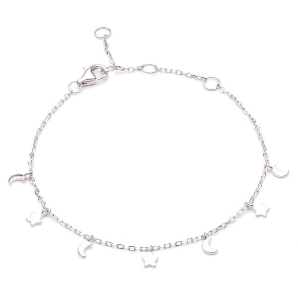 Silver Skye Bracelet with Star and Moon Hanging Charms - Lulu B Jewellery