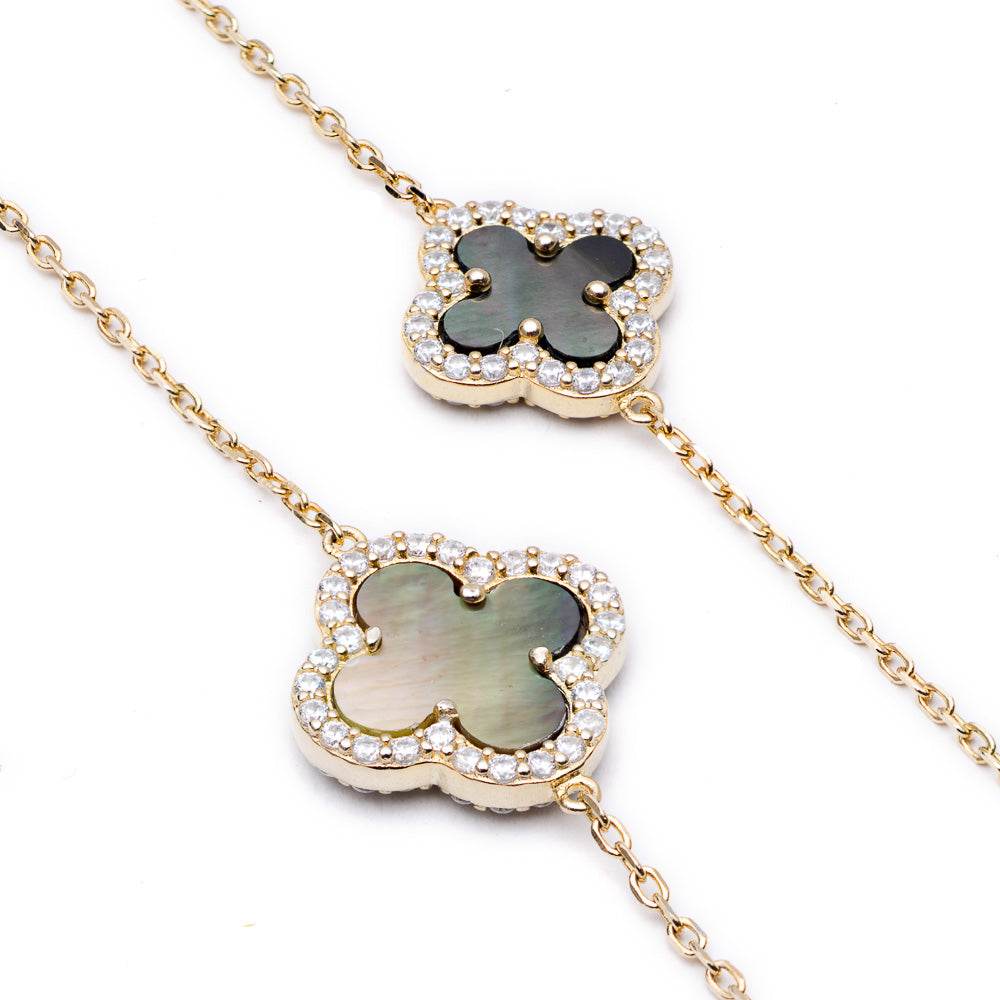 Clover Necklace with Black Mother of Pearl (Long) - Lulu B Jewellery
