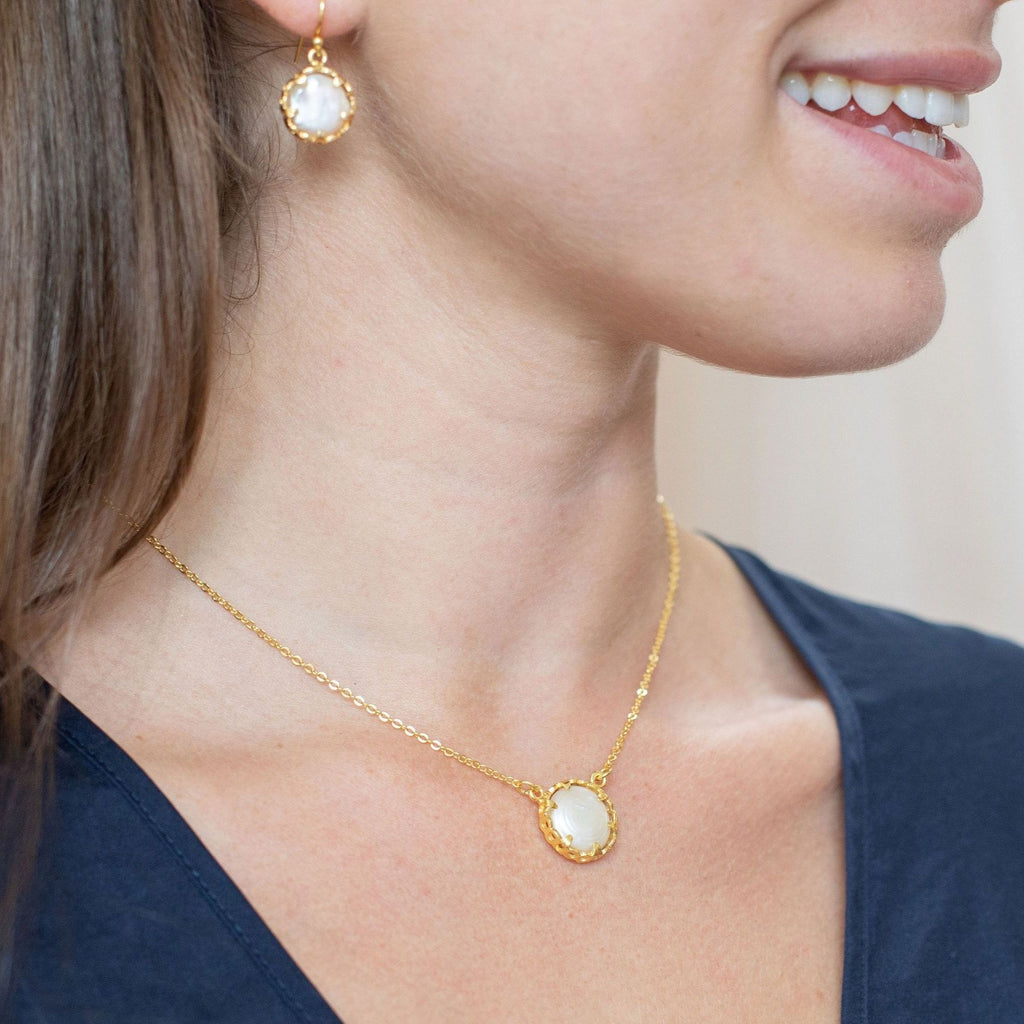 Gold Margot Necklace with Mother of Pearl - Lulu B Jewellery