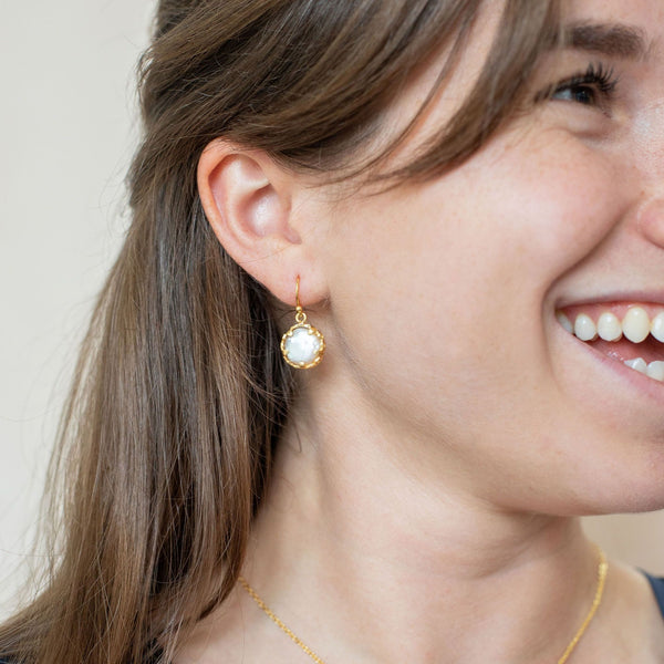 Gold Margot Drop Earrings with Mother of Pearl - Lulu B Jewellery