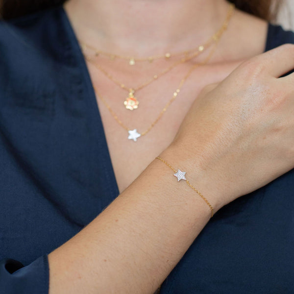 Gold Star Bracelet with Silver Star and Cubic Zirconia and Sliding Ball - Lulu B Jewellery